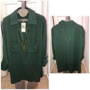 Michael kors emerald green quarter sleeve blouse